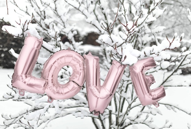 Love balloon in the snow Free Photo