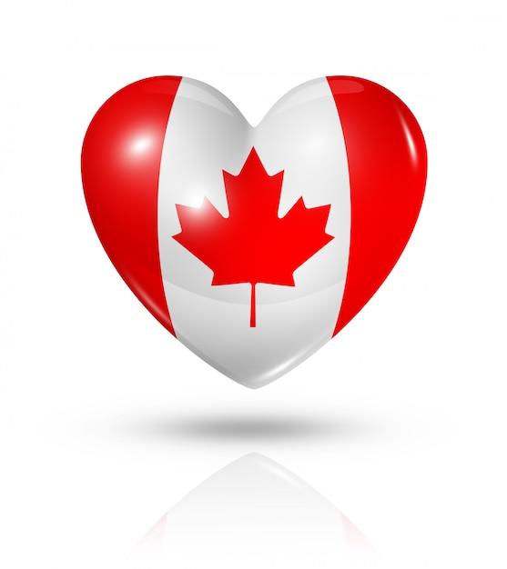 Love canada heart flag icon Premium Photo