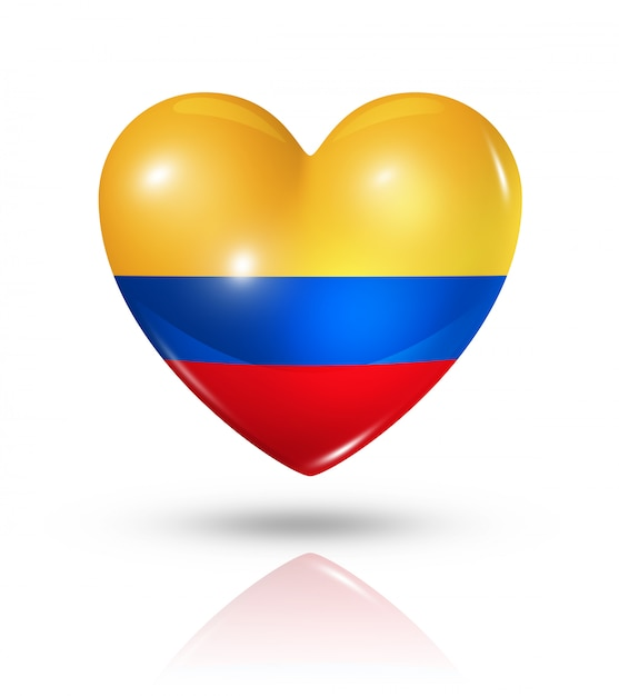 Love colombia heart flag icon Premium Photo