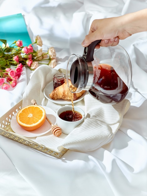 The love concept on table with breakfast Free Photo