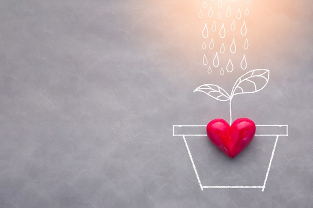 Love concept with red heart object and watering tree drawing Premium Photo