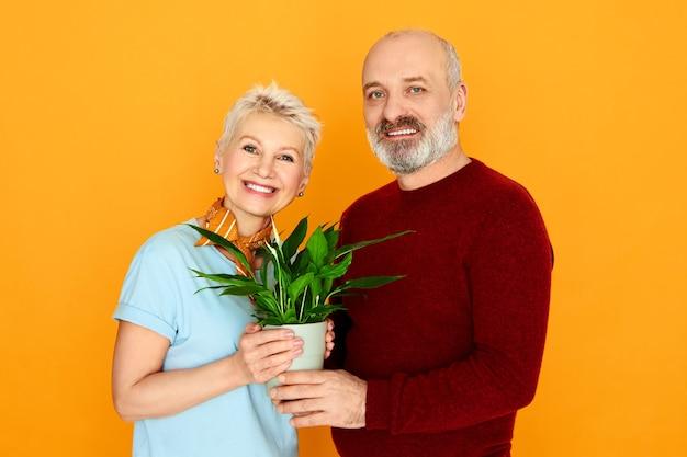 愛、家族、人間関係の概念。幸せな中年夫婦の短い髪の女性とひげを生やした男性が植木鉢で黄色の壁にポーズをとって、一緒に移動しながら新しいものを購入するスタジオ画像 無料写真
