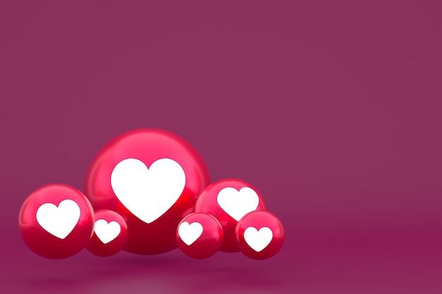 Значок любви facebook реакции смайликов рендеринга, символ шара в социальных сетях на красном фоне Premium Фотографии