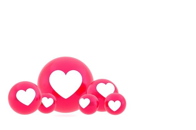 Значок любви facebook реакции смайликов рендеринга, символ шара в социальных сетях на белом фоне Premium Фотографии