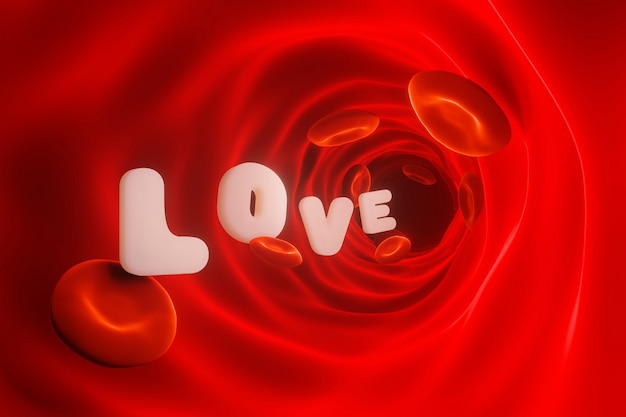 Love of red blood cells concept. 3d rendering. Premium Photo
