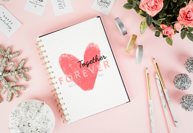 Love sketch in a notebook Free Photo