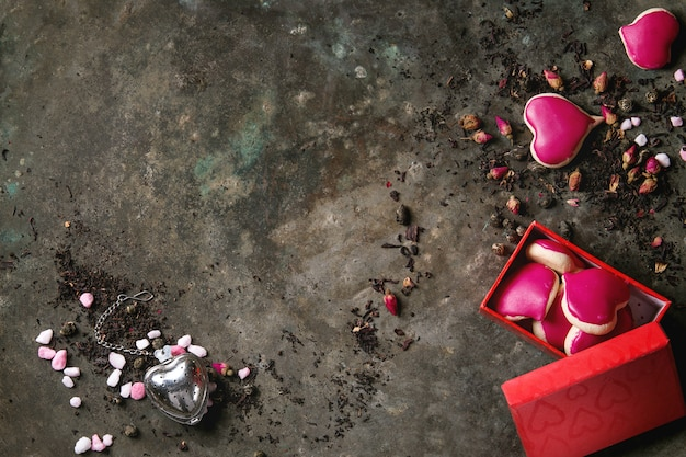 Love valentine tea greeting card Premium Photo