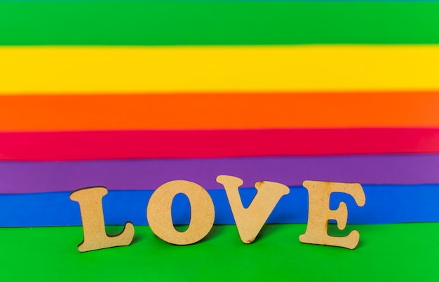 Love word and lgbt flag Free Photo