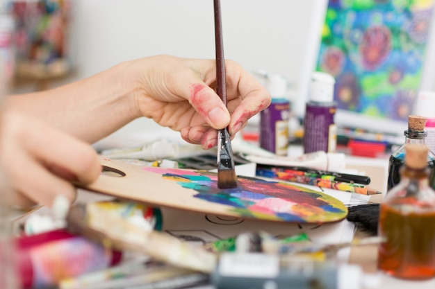 Lovely art studio compositio Free Photo