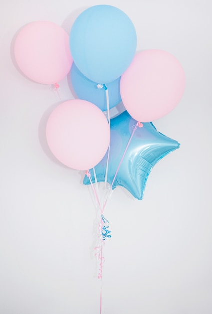Lovely birthday composition with balloons Free Photo