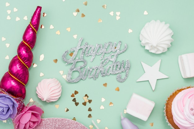 Lovely birthday composition with party elements Free Photo