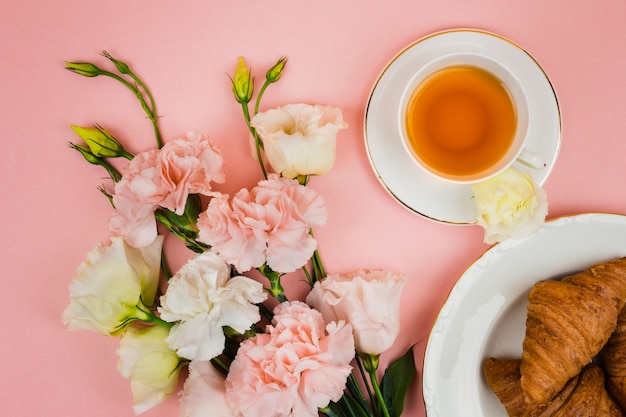 Lovely breakfast and flowers Free Photo