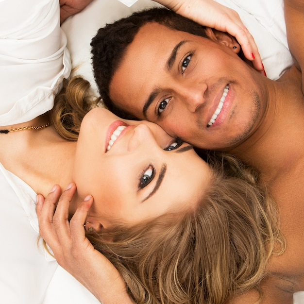 Lovely couple in the bed Free Photo