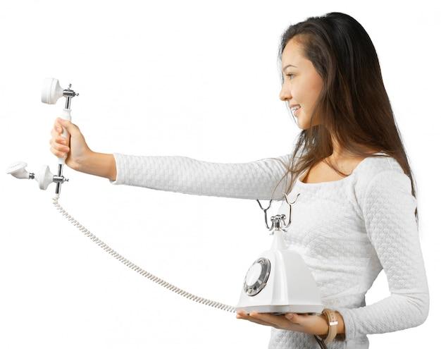 Lovely girl on telephone Premium Photo
