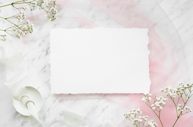 Lovely wedding invitation flat lay Free Photo