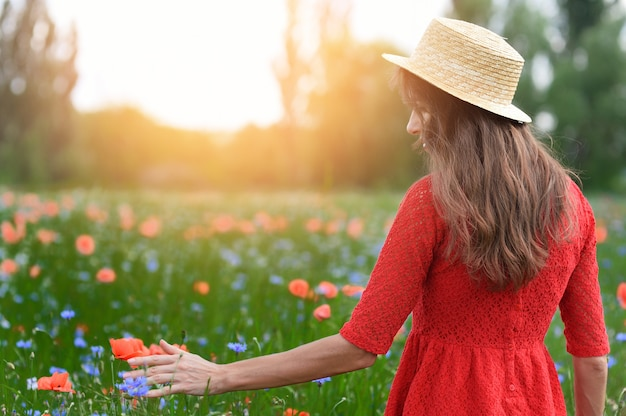 Lovely young romantic woman in straw hat walking on poppy flower field and takes poppies Premium Photo