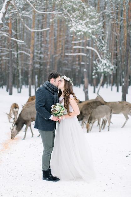 Влюбленная пара в день прополки со стадом оленей Premium Фотографии