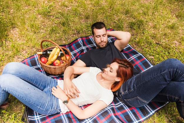 Loving young couple relaxing on the picnic in the park Free Photo