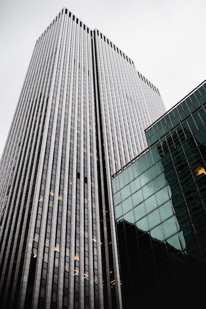 Low angle contemporary glass skyscrapers Free Photo