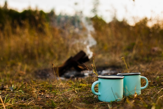 Low angle cups next to extinguish fire Free Photo