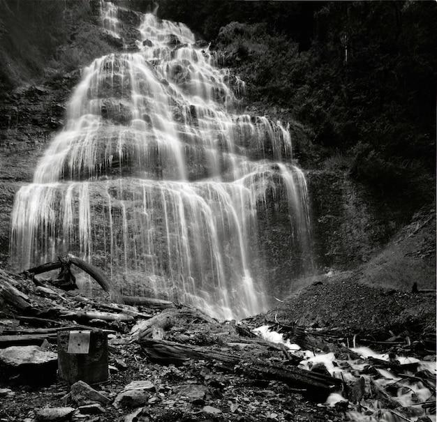 Снимок в оттенках серого под низким углом водопада фата невесты в провинциальном парке в канаде. Бесплатные Фотографии