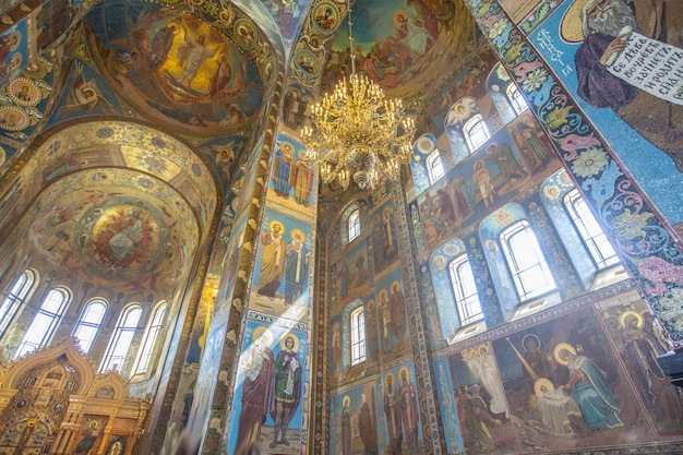 Low angle shot of the church of the savior on blood's interior in st. petersburg, russia Free Photo