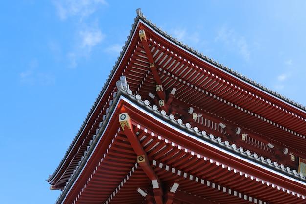 Низкий угол выстрела на стороне старейшего в токио храма сэнсо-цзи Бесплатные Фотографии