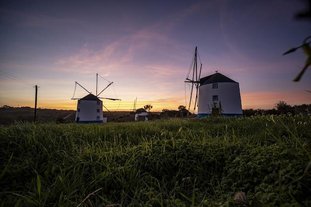 背景の澄んだ紫色の空に日の出の風車のローアングルショット 無料写真