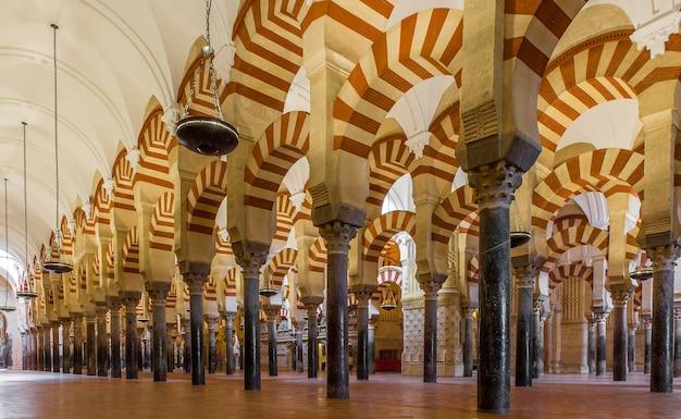 Inquadratura dal basso di colonne modellate allineate all'interno di una maestosa cattedrale in spagna Foto Gratuite
