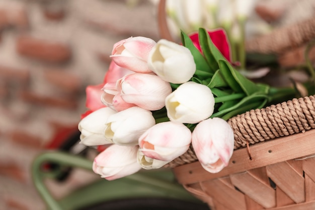 Low angle of spring tulips in basket Free Photo