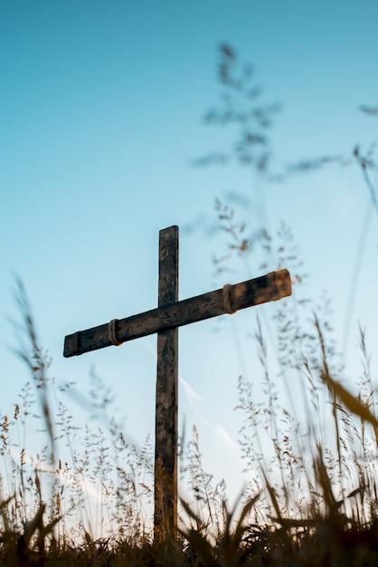 手の低角度の垂直ショットは、背景の青い空と芝生のフィールドで木製の十字架を作った 無料写真