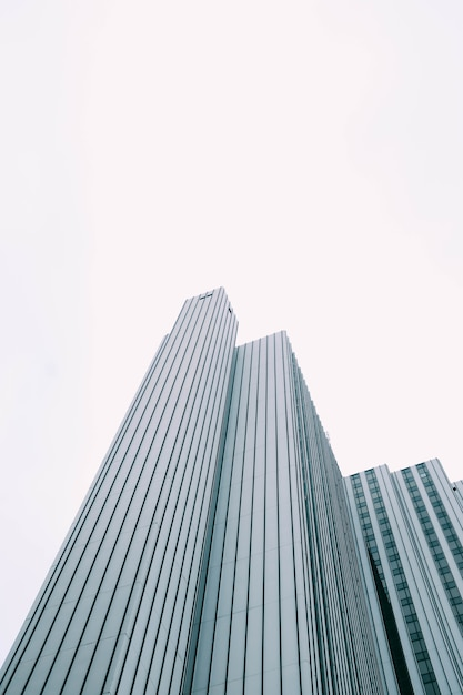 白い空の下で青と白の窓があるモダンな高層ビルの低角度のビュー 無料写真