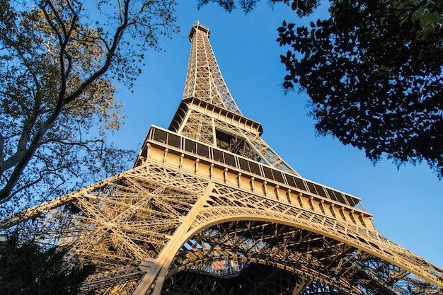フランスのパリで日光の下で木々に囲まれたエッフェル塔のローアングルビュー 無料写真