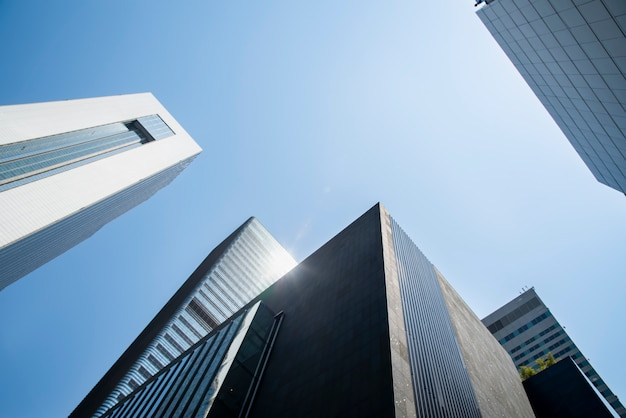 Low angle view of skyscrapers. Premium Photo