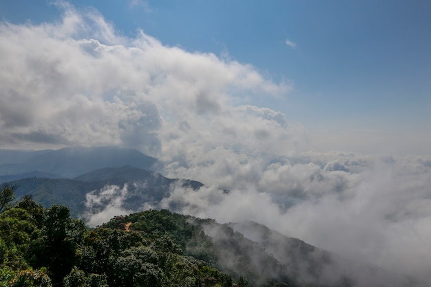 Low clouds covering the peaks of the hill, at the top of the serra da mantiqueira. minas gerais state, brazil Premium Photo