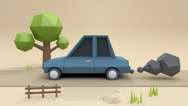 Low Poly Car Cartoon Style On Country Road 3d Rendering Photo