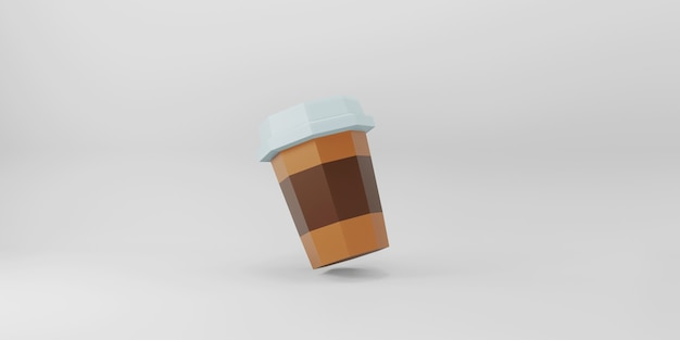 Low poly coffee cup on white background. Premium Photo