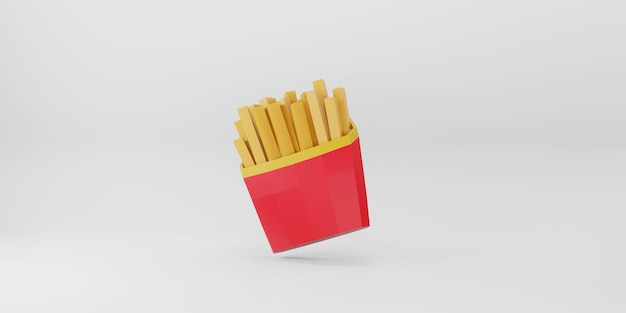 Low poly french fries on white background. Premium Photo