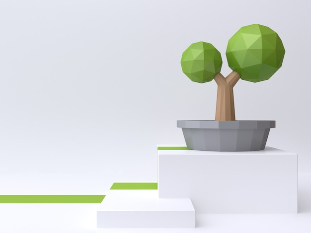 Low poly tree in pot on abstract white ground 3d rendering
