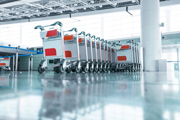 Luggage carts at modern airport Premium Photo