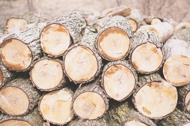 昼間に斧で切り刻まれた材木 無料写真