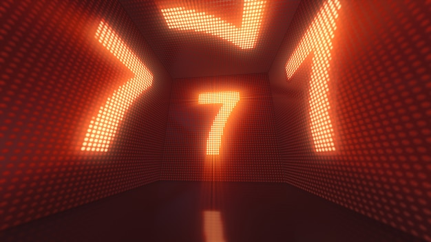 Luminous cube of leds from the inside with the number 7 3d illustration Premium Photo