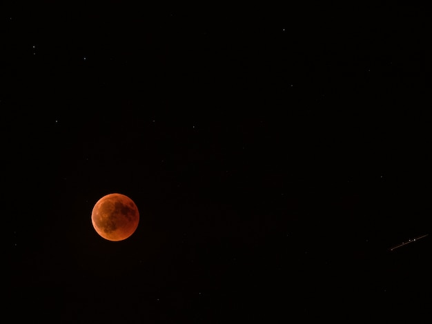 Lunar eclipse red full moon. Premium Photo