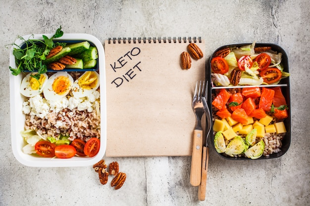 Lunch boxes with keto diet food, top view. salmon, cheese, eggs and vegetables in food containers. Premium Photo