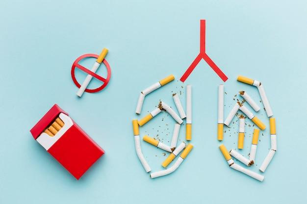 タバコのコンセプトで肺の形 無料写真