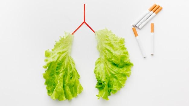 Форма легких с зеленым салатом и сигаретами Бесплатные Фотографии