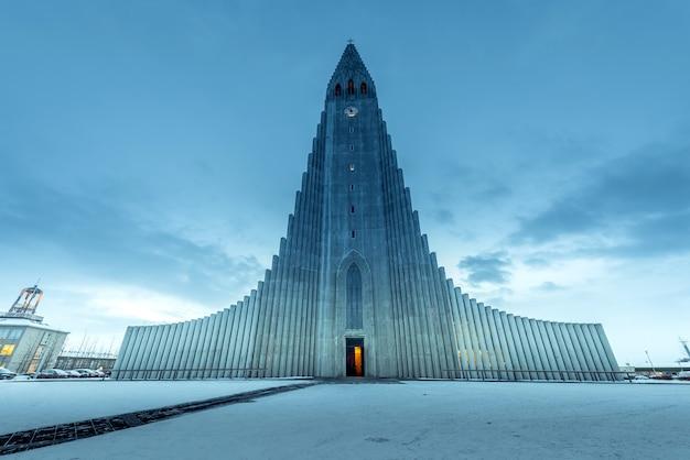 Lutheran church in reykjavík Premium Photo