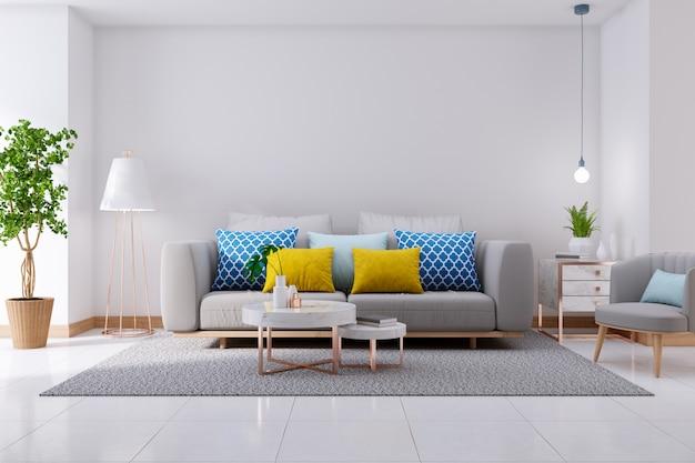 Роскошный современный интерьер гостиной, серый диван на белом полу и белая стена, 3d-рендеринг Premium Фотографии