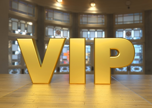 Luxurious vip golden text on a table and elegant stay in the background Premium Photo