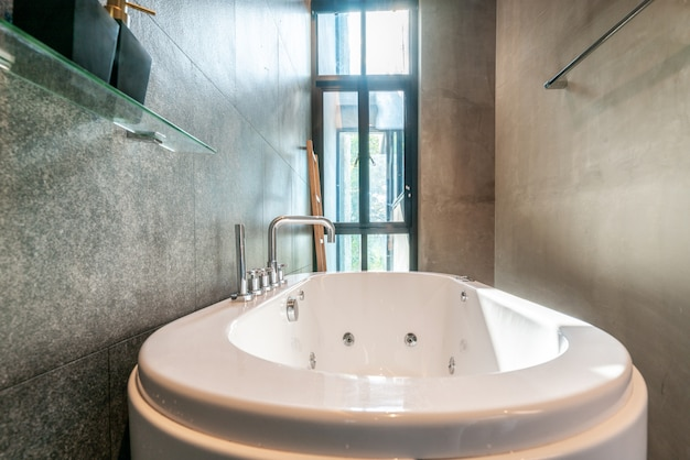 Luxury Bathroom Features Bathtub With Light And Bright Space